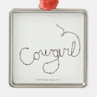 Cowgirl Sign Silver-Colored Square Decoration