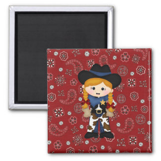 Cowgirl Square Magnet