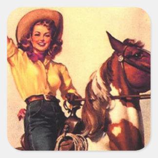 Cowgirl Square Sticker
