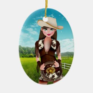 Cowgirl - SRF Ceramic Oval Decoration