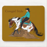 Cowgirl Style Reining Horse Mousepad