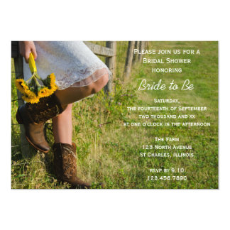 Cowgirl Sunflowers Country Western Bridal Shower 13 Cm X 18 Cm Invitation Card