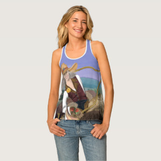 Cowgirl T-Shirt, smiling cowgirl with buffalo Tank Top