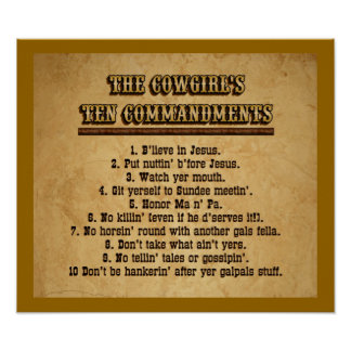 Cowgirl Ten Commandments Poster