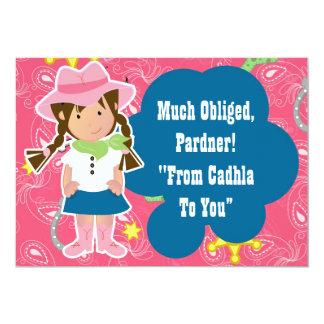 Cowgirl Thank you card 13 Cm X 18 Cm Invitation Card