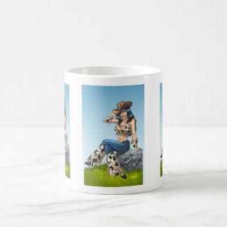 Cowgirl Tipping Her Cowboy Hat Illustration Basic White Mug