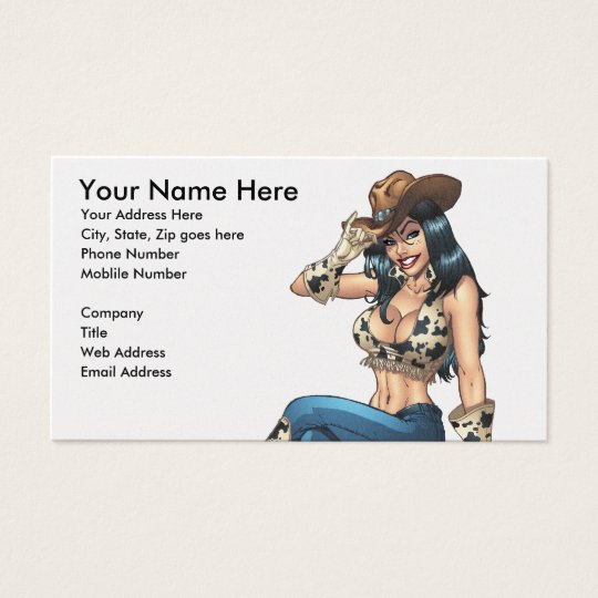 Cowgirl Tipping Her Cowboy Hat Illustration Business Card