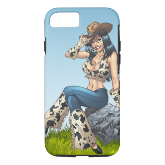 Cowgirl Tipping Her Cowboy Hat Illustration iPhone 7 Case