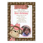 Cowgirl Western Monkey 5x7 *PHOTO* Birthday Personalised Invitations