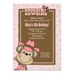 Cowgirl Western Monkey 5x7 Pink Horseshoe Birthday Custom Invitation