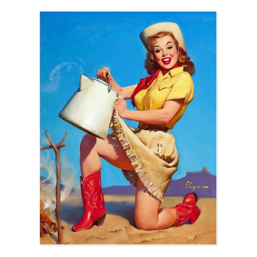 Cowgirl with Coffee Pin Up Post Cards