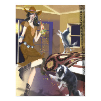 cowgirl with dancing border collie, party postcard