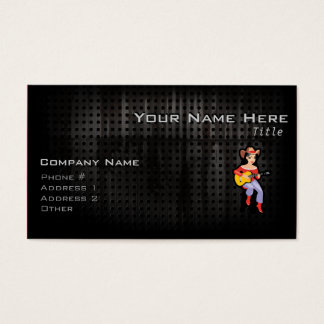 Cowgirl with Guitar; Black Business Card