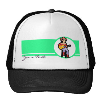Cowgirl with Guitar; Colorful Cap