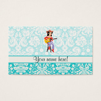 Cowgirl with Guitar; Cute Business Card