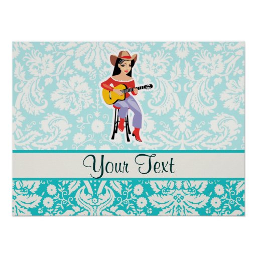 Cowgirl with Guitar; Cute Poster