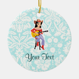 Cowgirl with Guitar; Cute Round Ceramic Decoration