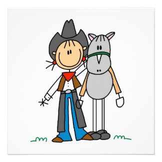 Cowgirl With Horse T-shirts and Gifts Personalized Announcements