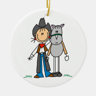 Cowgirl With Horse T-shirts and Gifts Round Ceramic Decoration