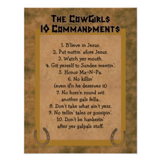Cowgirls 10 Commandments POSTER Print