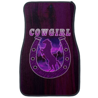 Cowgirls horse shoe and wild horses car mat