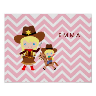 Cowgirls Sheriff Officer Horse on Chevron Posters