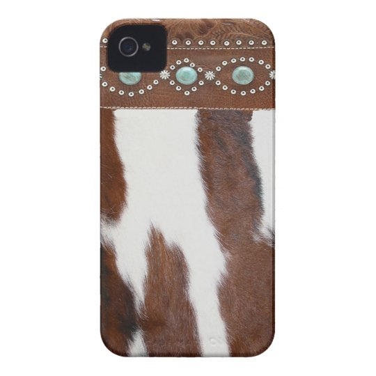 """Cowhide and Turquoise"" Western Blackberry Case"