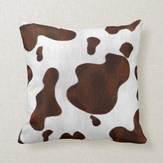 Cowhide Cow Spots Western Leather Spotted Brown Throw Pillow
