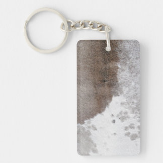 Cowhide Double-Sided Rectangular Acrylic Key Ring