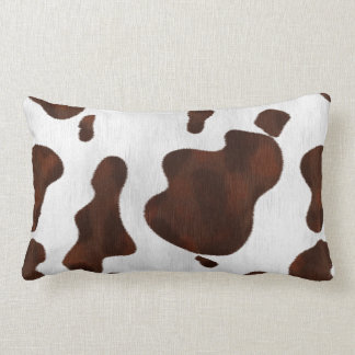 Cowhide Faux Hair Western Leather Spotted Pattern Lumbar Cushion