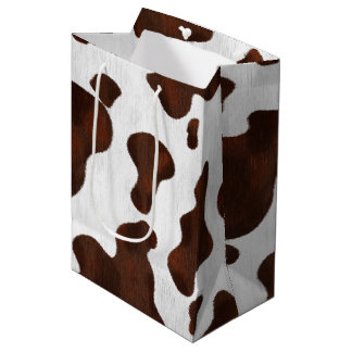 Cowhide Faux Hair Western Leather Spotted Pattern Medium Gift Bag