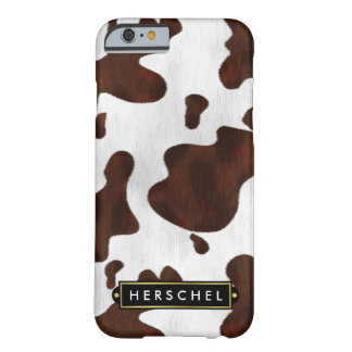 Cowhide Faux Western Leather Spotted Personalized Barely There iPhone 6 Case