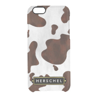 Cowhide Faux Western Leather Spotted Personalized Clear iPhone 6/6S Case