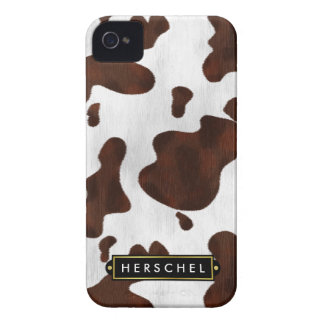 Cowhide Faux Western Leather Spotted Personalized iPhone 4 Case