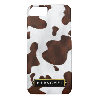 Cowhide Faux Western Leather Spotted Personalized iPhone 7 Case