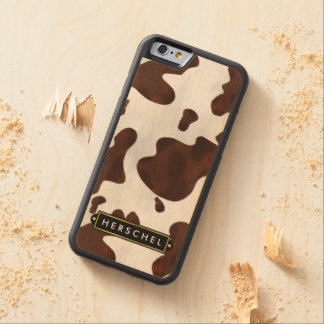 Cowhide Faux Western Leather Spotted Personalized Maple iPhone 6 Bumper