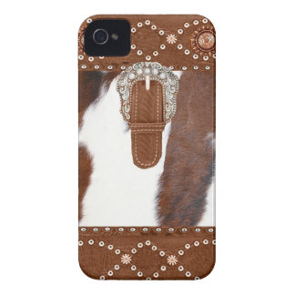 """Cowhide & Leather"" Western Blackberry Case"