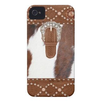 """Cowhide & Leather"" Western Blackberry Case"