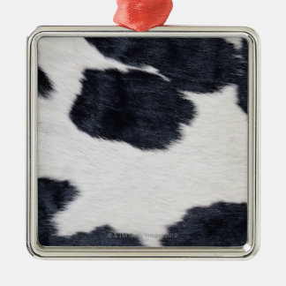Cowhide Print Silver-Colored Square Decoration