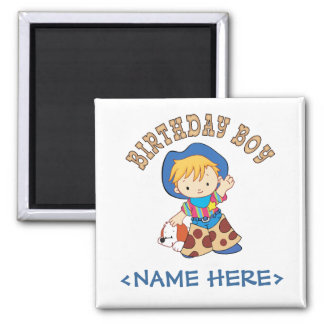 Cowkids Birthday Boy Square Magnet