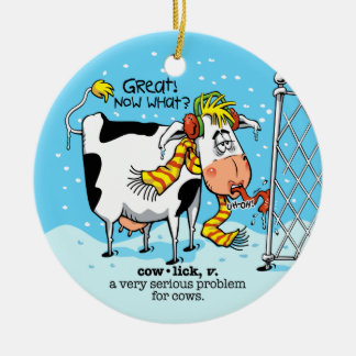 Cowlick Cow Christmas Ornament
