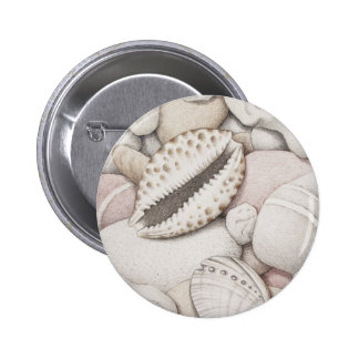 Cowrie & Abalone Shells & Pebbles in Colour Pencil 6 Cm Round Badge