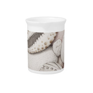 Cowrie & Abalone Shells & Pebbles in Colour Pencil Pitcher