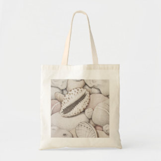 Cowrie & Abalone Shells & Pebbles in Colour Pencil Tote Bag