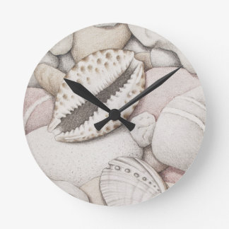 Cowrie & Abalone Shells & Pebbles in Pencil Clock