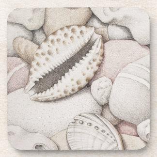 Cowrie & Abalone Shells & Pebbles Plastic Coasters