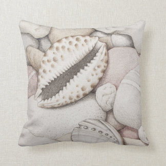Cowrie & Abalone Shells Pebbles Polyester Cushion