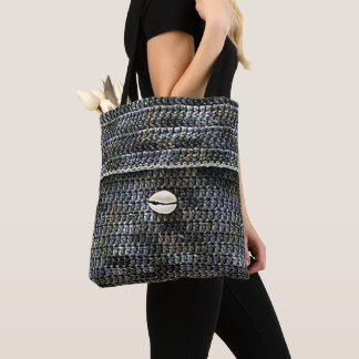 Cowrie Shell Gray Texture Crochet Print All Over Tote Bag