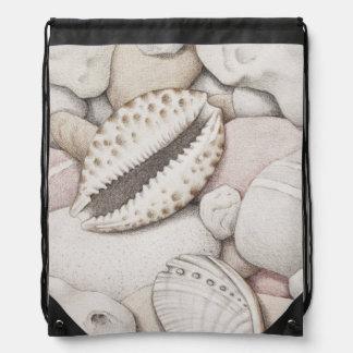 Cowrie Shells & Pebbles in Pencil Drawstring Bag
