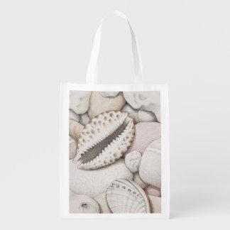 Cowrie Shells & Pebbles in Pencil Reusable Bag